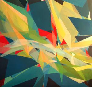 """""""Durchbruch"""" Pigmente auf Leinwand 2014, 115x115 cm"""