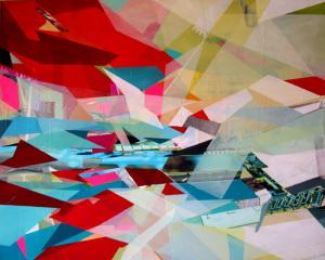 Collage und Taping auf Leinwand, 90 x 110 cm